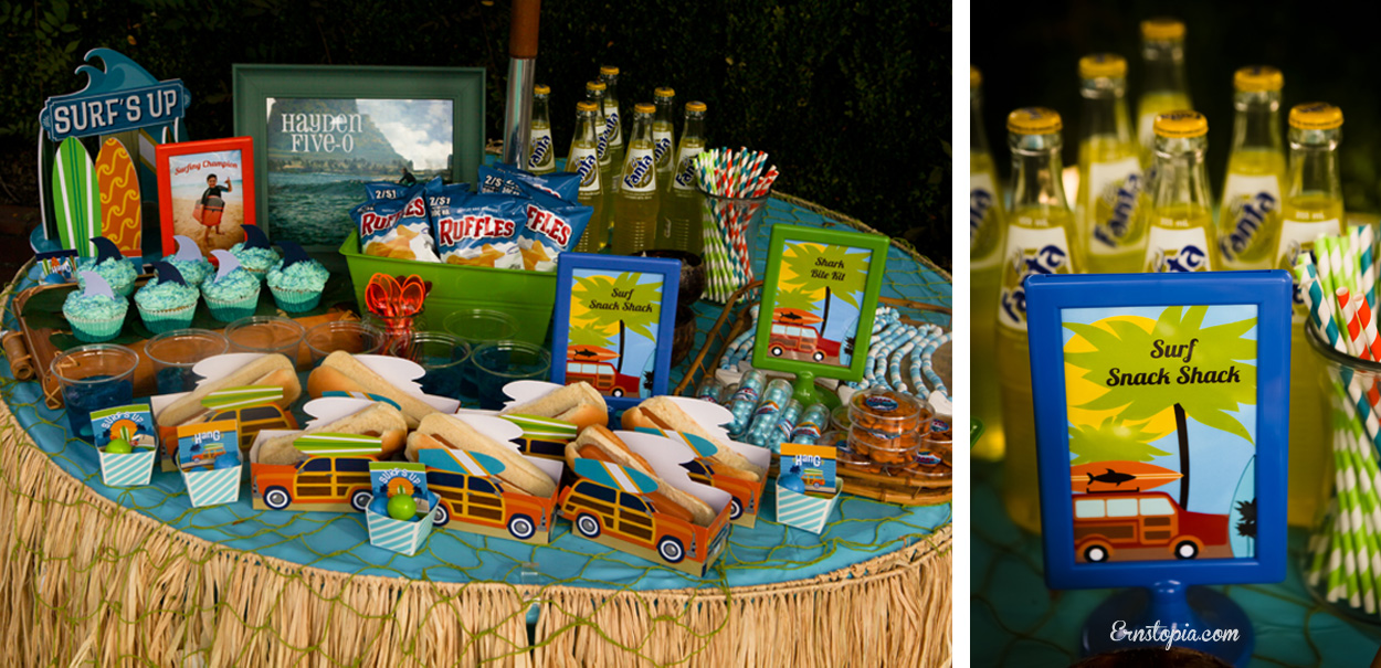 The Snack Shack is filled with fun snacks for the Surfing party