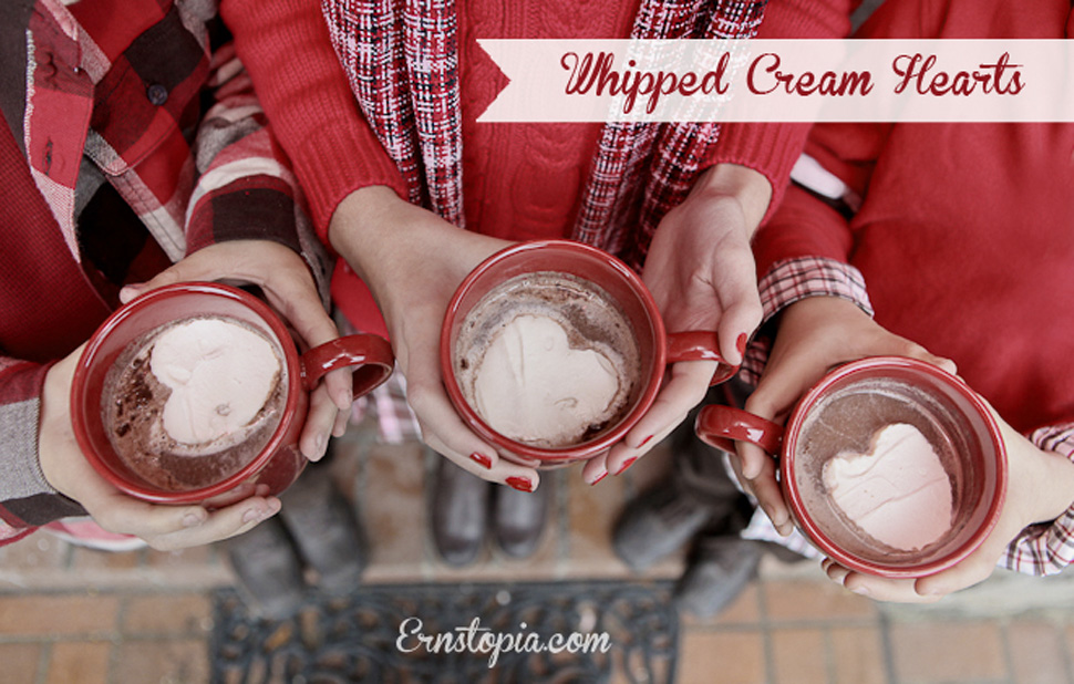 Whipped cream hearts are the perfect way to top off your hot chocolate!