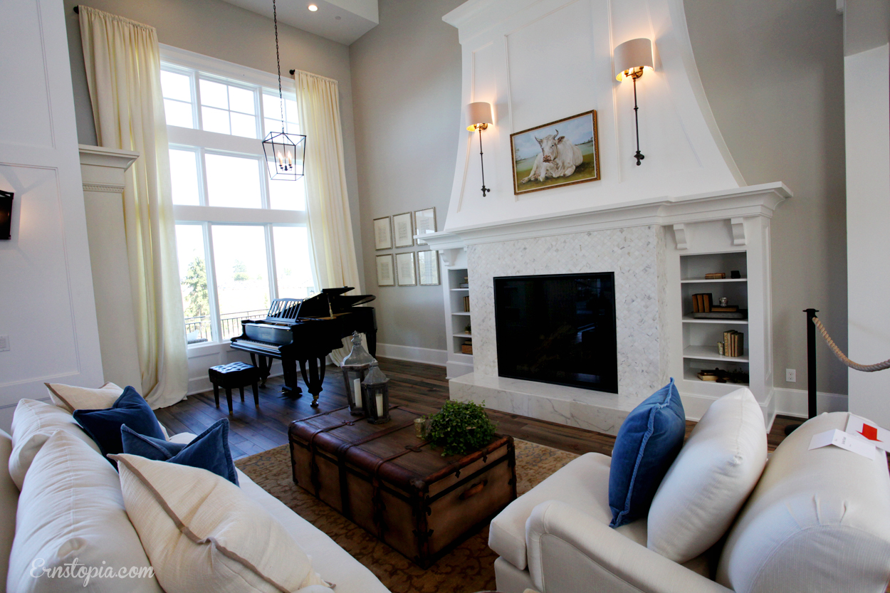 Formal Living Room with white tile fireplace