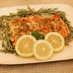 Herb crusted salmon with lemons