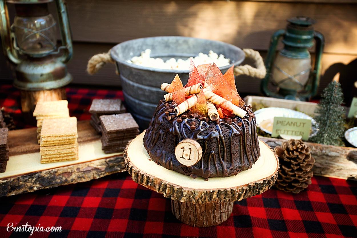 Rustic wood slice cake plate