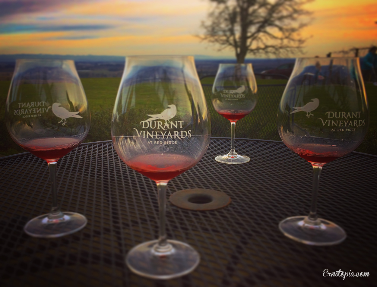 The sun was setting as we enjoyed our wine tasting at Durant Vineyards
