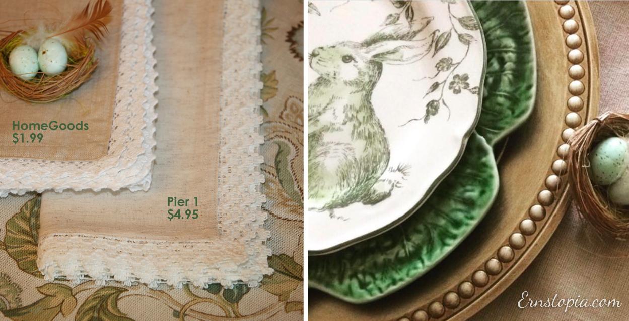 Lace trimmed linen napkins.