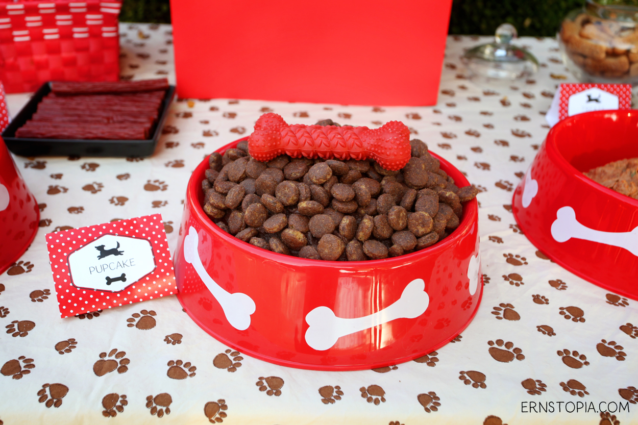 A dog food cake is a fun way to add humor to a dog themed birthday party! Here are some more ideas to get you started with your dog party!